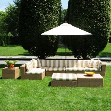 NEW PRODUCT ALERT!  Java Collection Stripe -- all-weather outdoor rattan in honey color with sunbrella cream and mocha stripe