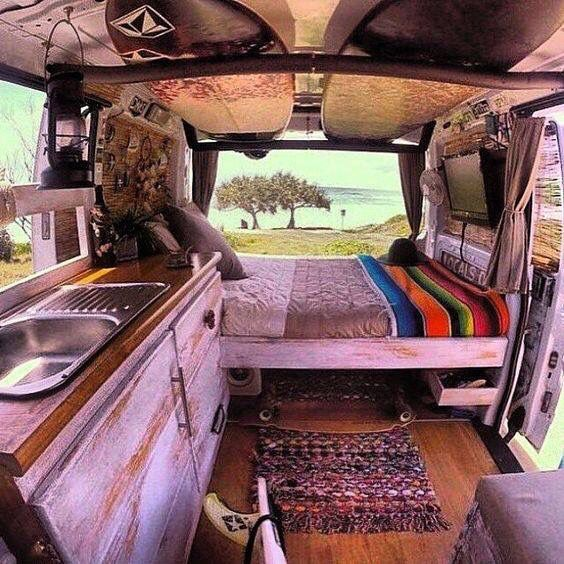 Vast bed in RV.