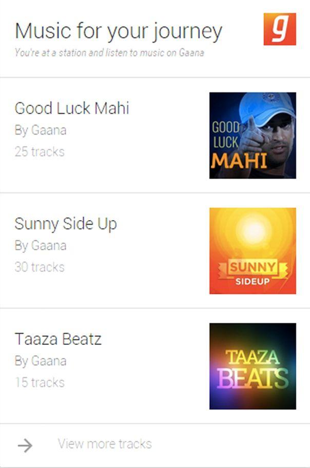 Google now music card