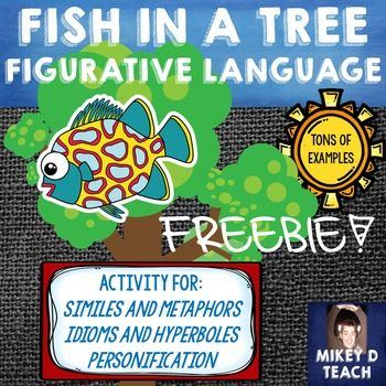 Are you ready to teach Fish in a Tree? Do you want to expose your students to a slew of figurative language, but don't have the time to search for examples throughout this awesome novel? This resource is designed to help the busy teacher do what they do best - TEACH.Included in this resource are similes, metaphors, idioms, hyperboles, and personification examples that are included in Fish in a Tree.