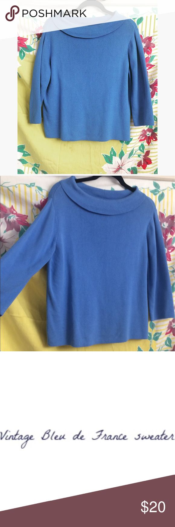 VINTAGE 🇫🇷BLEU DE FRANCE 🇫🇷 SWEATER TOP • Channel your inner Audrey Hepburn in the Bleu de France (another word for blue) vintage sweater • 80s/90s however gives me sixties feels>>>Easily fits a small or medium despite the label Vintage Tops Sweatshirts & Hoodies