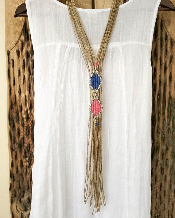 Extra long ethnic fringe necklace, silver beaded tribal woven ...