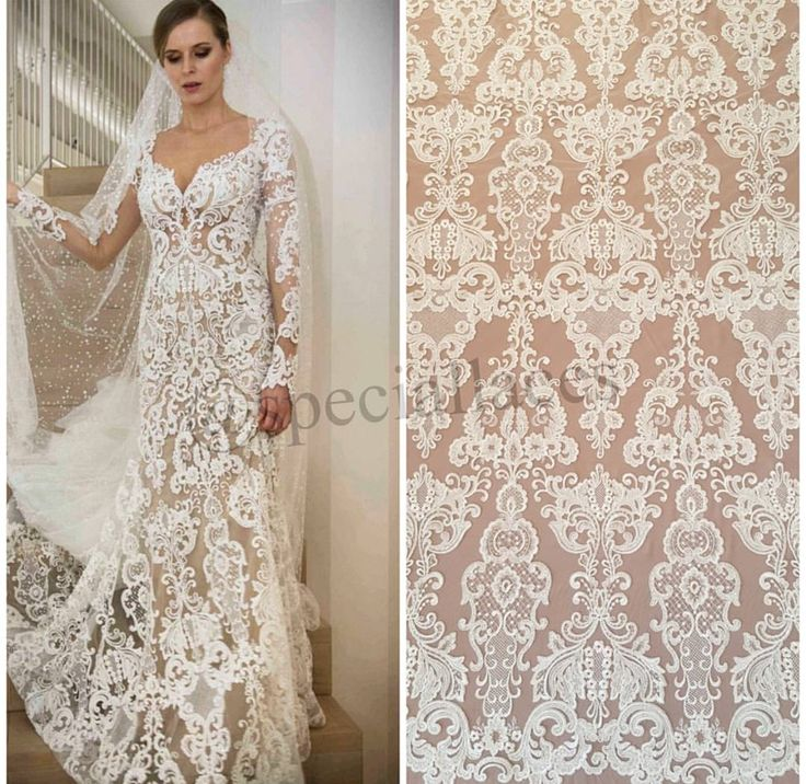 Trendy Newest fashion ivory wedding dress lace fabric d lace fabric tulle bridal hollow embroidery