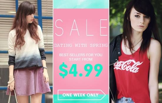 Dating with spring, all best-sellers for you! Over 100 styles, up to 40% off Start from $4.99 Time: 2/18/2014 ---2/23/2014 Don't miss, girls! Go: http://www.romwe.com/DATING-WITH-SPRING-c-454.html?Pardonnemoicecaprice
