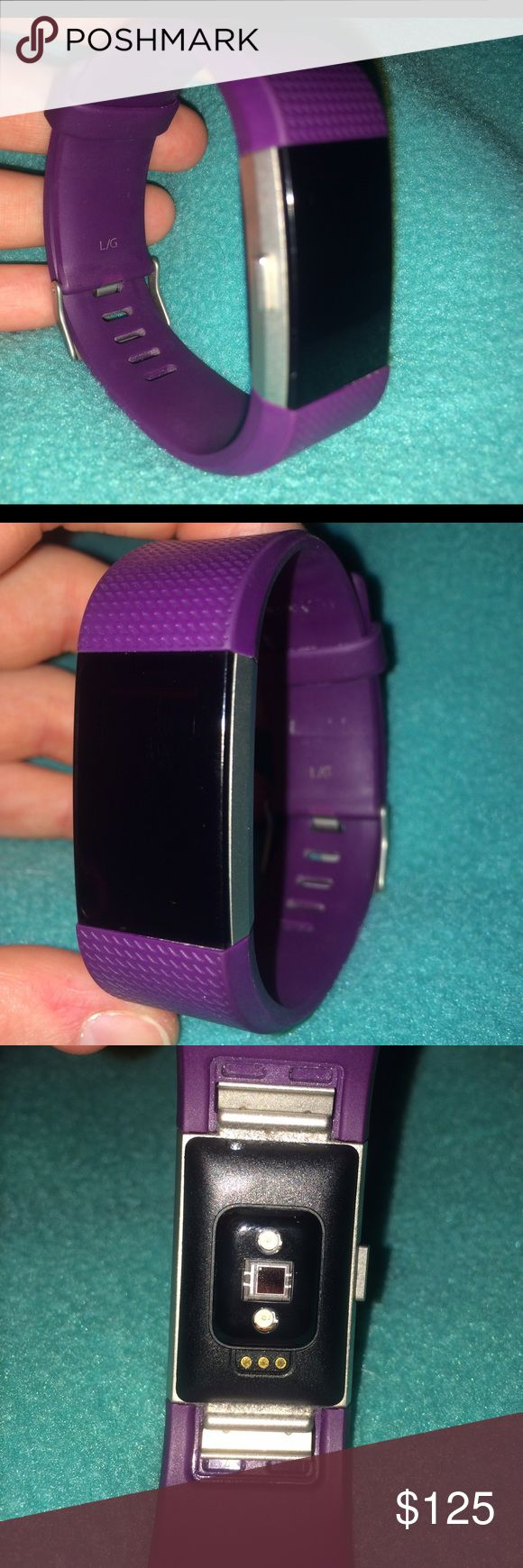 Fitbit Charge HR 2 This Fitbit charge HR 2 is like new. I bought it and wore it only three times (and all I did was walk around nothing heavy). It comes with the charger and that works as if it was new as well. The band is a size large, but the bands can be interchanged if you buy the others types, styles, and sizes. It's really cute and allows you to track your fitness! It even connects to your smartphone via the Fitbit app. fitbit Jewelry Bracelets