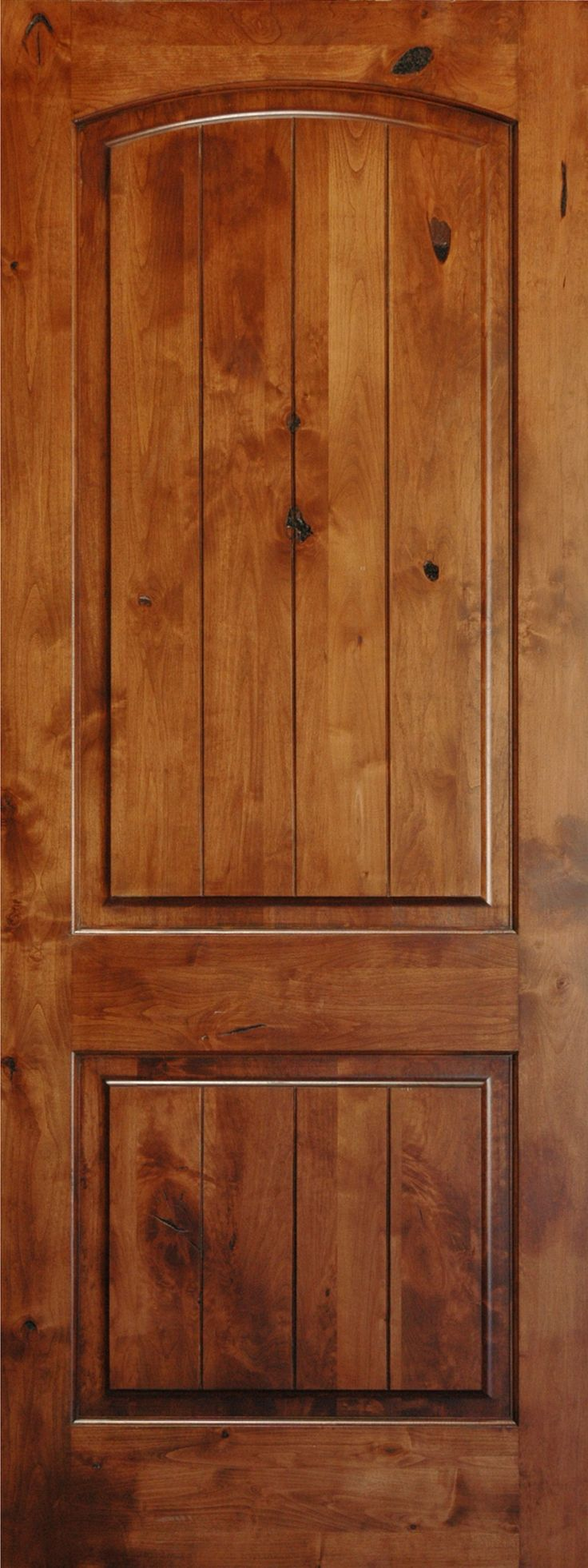 Interior Pine Doors | ft Interior V-Grooved Knotty Alder Arch Top 2-Panel Door