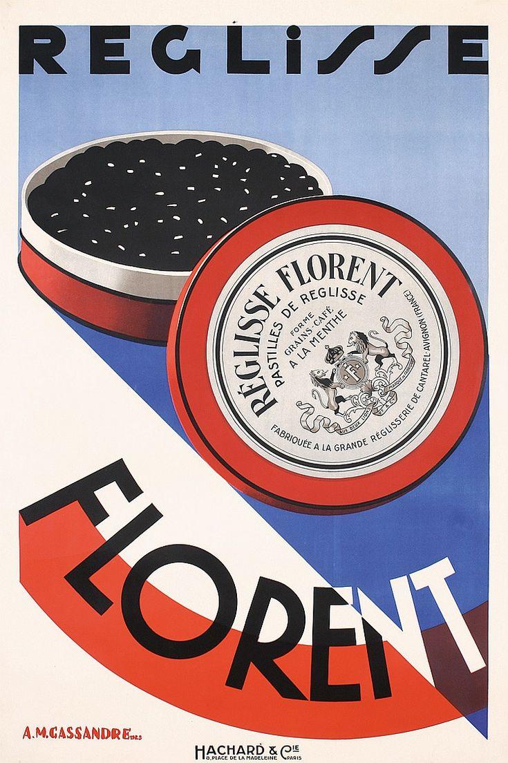Cassandre, A.M. 1901 - 1968. Reglisse Florent. Lithograph 1925. Size: 59 x 38.9 in. (150 x 99 cm). Printer: Hachard & Cie., Paris.