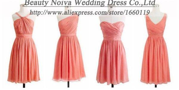 Quatre lumière de pastèque coralqualité courte de mousseline robes de demoiselle d'honneur bleu violet rose brun marine, lavande robes de soirée de fête de mariage
