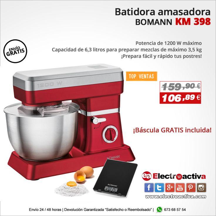 ¡Prepara fácil y rápido tus postres! Batidora Amasadora con báscula BOMANN KM 398 ROJA https://www.electroactiva.com/bomann-batidora-amasadora-km-398-roja-1200-w-6-2-litros.html #Elmejorprecio #Batidora #Amasadora #Cocina #Postres #Chollo #Electrodomestico #PymesUnidas