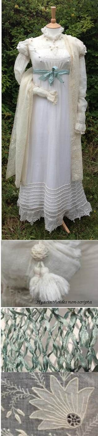 A morning outfit. c1818 white muslin trousseau gown. Early 1800s blue silk netted purse and ribbon. c1820 embroidered cream cotton shawl.