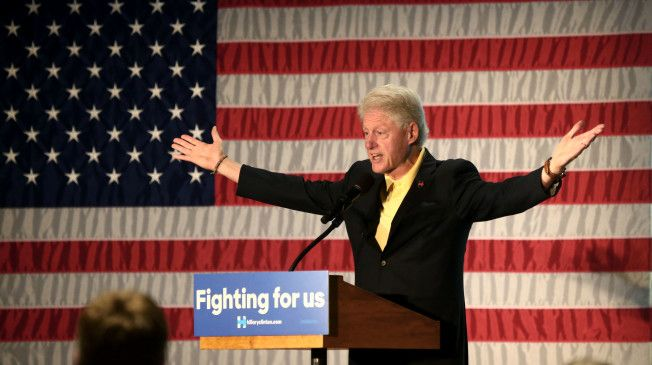 Former President Bj's & Cigars Bill Clinton drew boos and shouts from the crowd as he made a campaign stop in Logan, West Virginia, on his wife's behalf, ahead of the state's May 10 presidential primary.