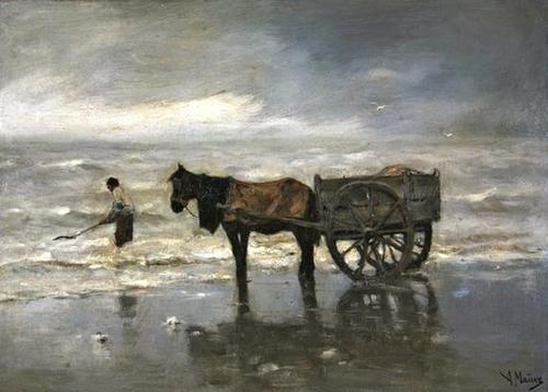 Anthonij (Anton) Rudolf Mauve (Dutch, 1838-1888) - The collection of the wrack seaweeds (19th century)