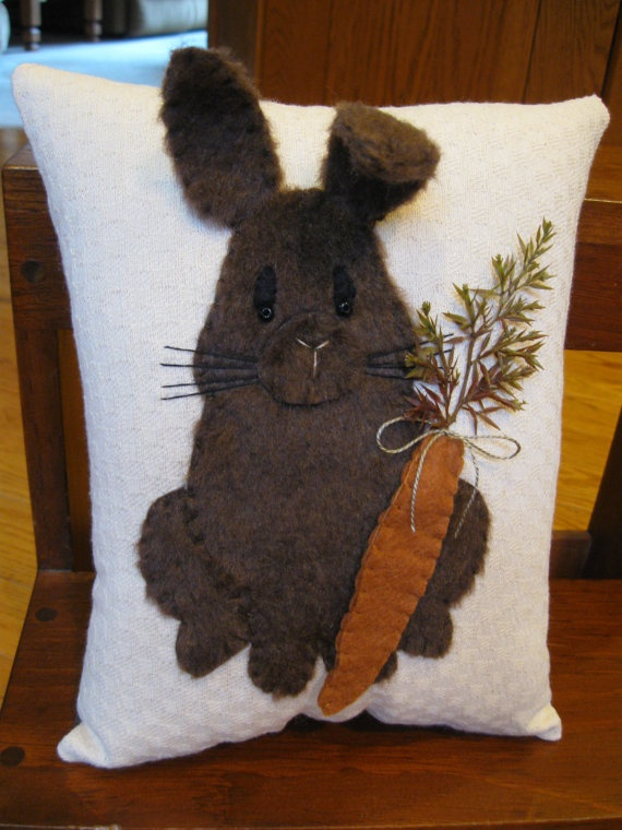 Furry Bunny Rabbit  Pillow3 Dimensional by Justplainfolk on Etsy, $25.00