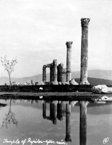 1930 ~ Reflections after the rain - Temple of Olympian Zeus in Athens