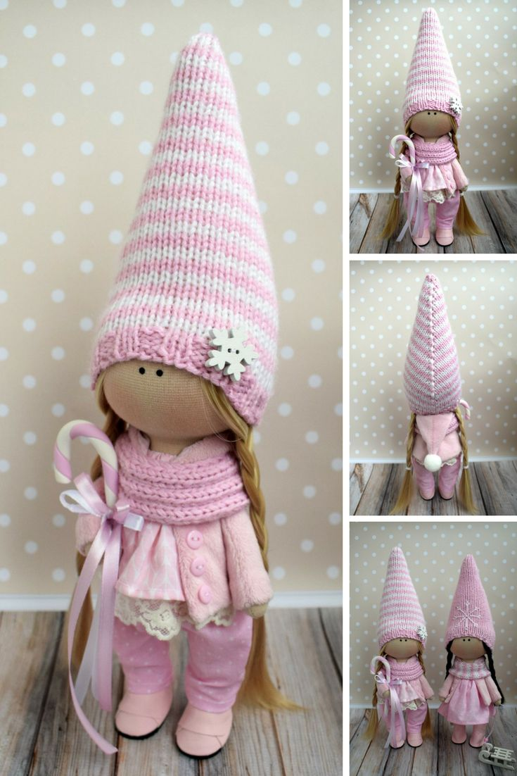 Tilda Pink Doll Fabric Winter Doll Handmade Textile Doll Rag Baby Doll Soft Unique Doll Poupée Muñecas Bambole di stoffa Art Doll by Olga G