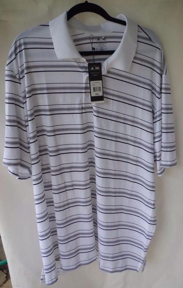 847f54458bd NWT New Mens Adidas 3 Stripe Logo Pure Motion Polo Shirt 3XL XXXL White w