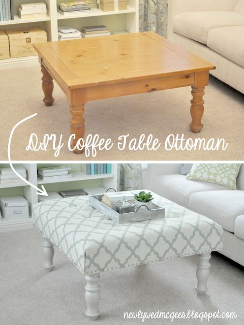 "DIY coffee table ottoman We did this a long time ago to a junky ottoman. So worth it, even if the kids think it's a ""pool"" to land into while jumping off the couch!- make this to match dinning room bench"