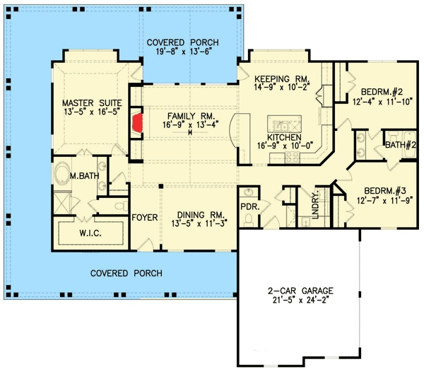 From ArchitecturalDesigns.com 3BR 2.5 bath with a wrap-around porch. Southern Pride...