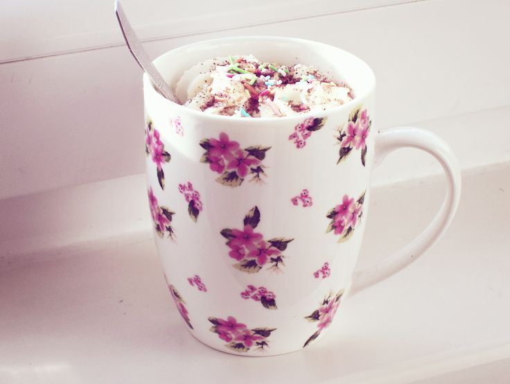 caffé latte in floral cup #cup #coffee