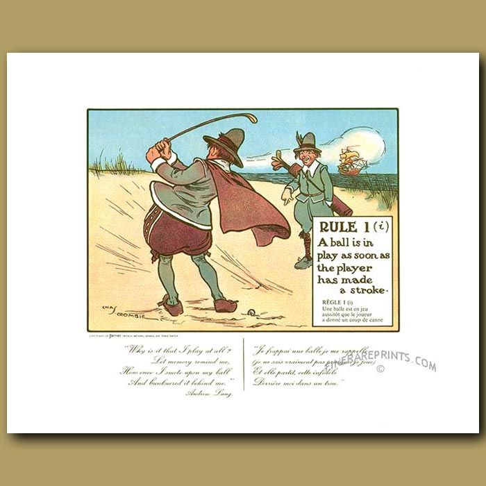 41 x 30 cm (16 x 11.75 inches).Charles Crombie was born in 1880 at Dumfries, Scotland. By 1901 Charles was working as a sculptor and artist. He specialised in cartoons and illustrations. His collection of 24 humorous cartoons, The Rules Of Golf, was first published by the bottled water company Perri