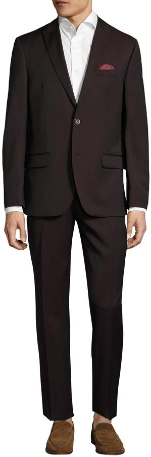 Ben Sherman Men's Wool Solid Peak Lapel Suit