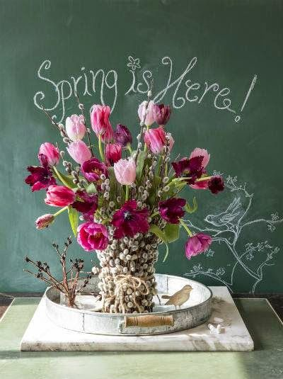 We are welcoming Spring today and  loving these pretty flower arrangements using pussy willows. Pussy willows always remind me of being a little girl! So fun!