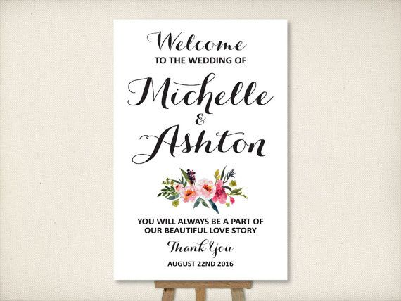 Wedding Welcome Sign Large Mounted By VintageBellsAndCo