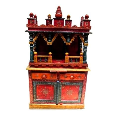 Multicoloured Embossed Mandir Or Temple With Matching Storage Unit - FOLKBRIDGE.COM | Buy Gifts. Indian Handicrafts. Home Decorations.