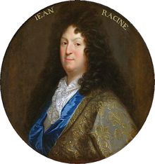 Jean Racine (baptismal name Jean-Baptiste Racine (22 December 1639 – 21 April 1699), was a French dramatist, one of the three great playwrights of 17th-century France (along with Molière and Corneille), and an important literary figure in the Western tradition. Racine was primarily a tragedian, producing such 'examples of neoclassical perfection' as Phèdre, Andromaque, and Athalie, although he did write one comedy, Les Plaideurs, and a muted tragedy, Esther.  Wikipedia