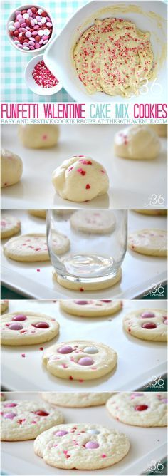 Valentine Cookie Recipe - Homemade cookies are the best! This easy Valentine Cake Mix Cookie Recipe is super easy to make and you'll need just a few ingredients. These Funfetti Valentine Cookies are festive, yummy, and perfect for gifts or any time you are craving a snack!