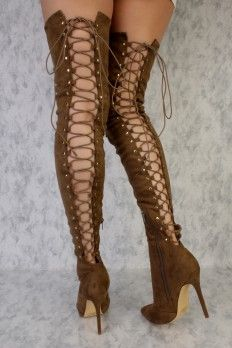 Thigh High Boots, Cheap Thigh High Boots, Thigh High Lace Up Boots, Suede (Page 3)
