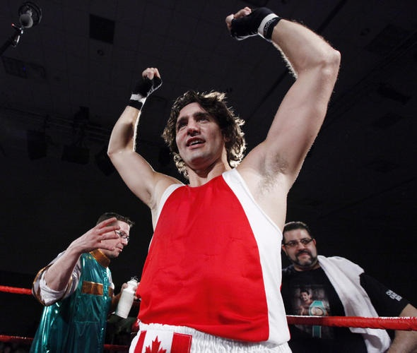 Justin Trudeau defeats Patrick Brazeau in a charity boxing match for cancer research.