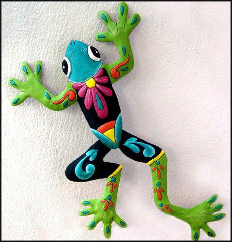 Frog Art Wall Hanging, Painted Metal Art, Garden Art, Outdoor Metal Art, Wall Art, Frog Yard Art, Tropical Decor, Garden Decor, M703-TQ-GR34