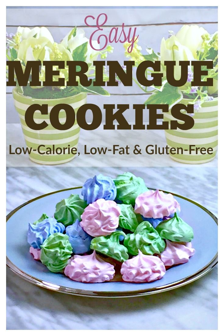 Easy Meringue Cookie Recipe - These low-calorie, low-fat, gluten-free cookies are SO easy to make and so pretty, too!