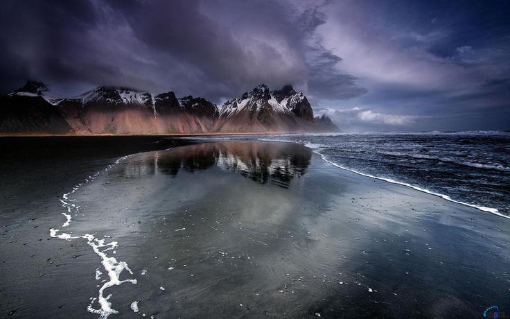 Обои для рабочего стола Черный пляж ночью, Исландия