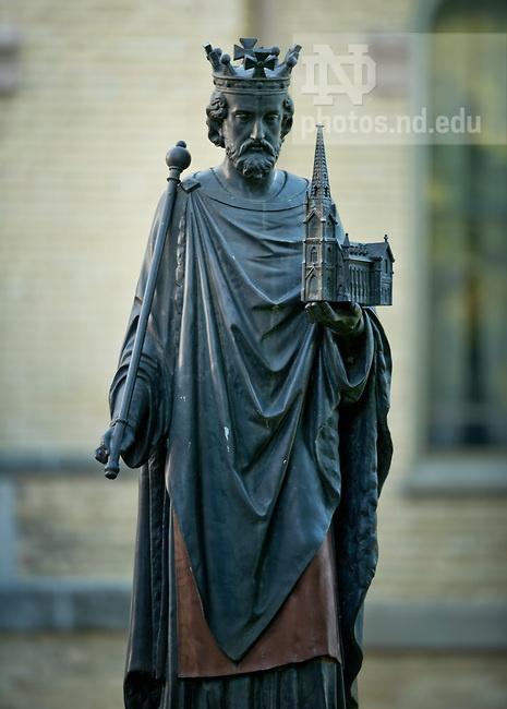 Statue of St. Edward outside St. Edward's Hall..Photo by Matt Cashore/University of Notre Dame