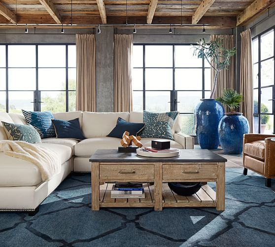 potterybarn tonal tile tufted rug in indigo