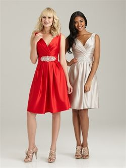 These bridesmaid dresses are super cute and elegant. What a fun way to dress up a wedding!
