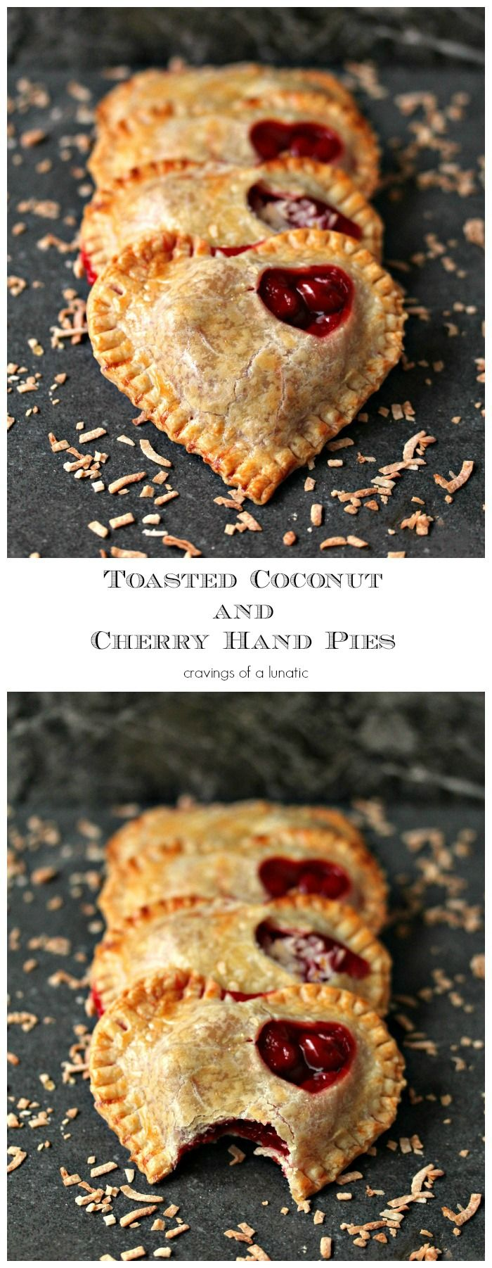 Toasted Coconut and Cherry Hand Pies | TThese little toasted coconut and cherry hand pies are absolutely scrumptious. Plus they are incredibly easy to make which is a huge perk!