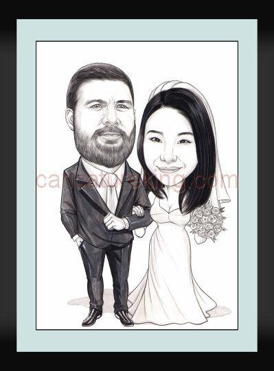 #Wedding #caricatures are great for:  - A #gift for the couple - Used by the couple as a sign-in board (alternative to a book) - Art for use as a #thank-you card to guests - Art for #wine labels for reception  This is an example of black and white by artist Harry  http://www.caricatureking.com/weddingcaricatures.php Ordering in US$, GBP, Aust$