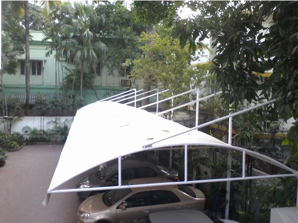 Parking shade canopies, commercial carports, corporate parking shade structures, covered parking structures, car shelters, & other vehicle parking shelters of tensioned fabric are also available.