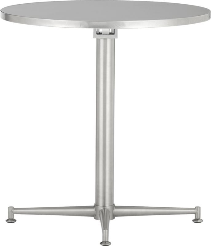 90 Degrees Bistro Table   CB2. Foldable Stainless Steel. On Sale $149. Good