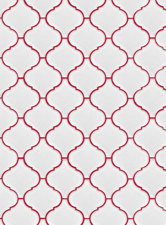 Lantern Pattern Bathroom Tile With Red Grout Interesting