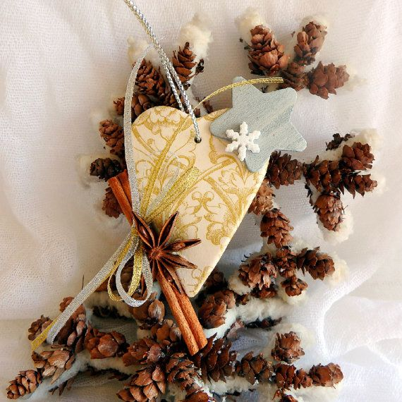 Christmas gold heart ornament good luck charm by kosmobysoul