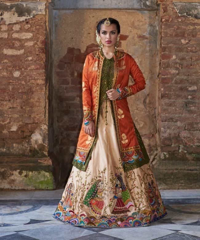 Cream & Orange Jacket Style Wedding Lehenha  #Cream  #Orange  #Wedding  #Jacket  #Long Sleeve