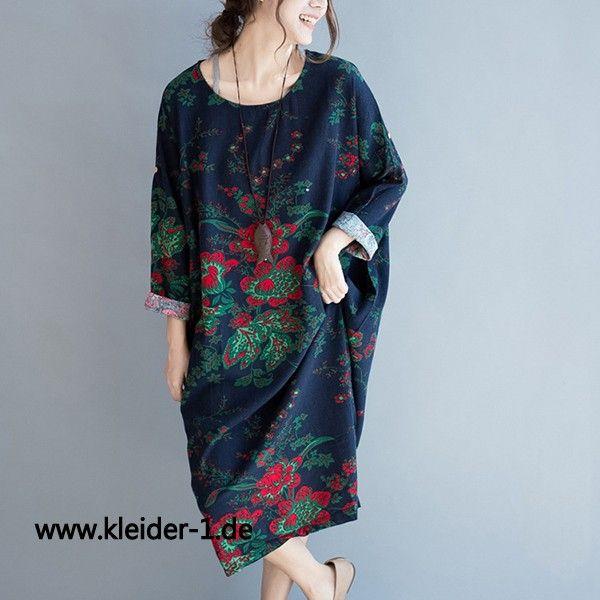 Damen Langarm Pullover in Blau mit Blumen Muster