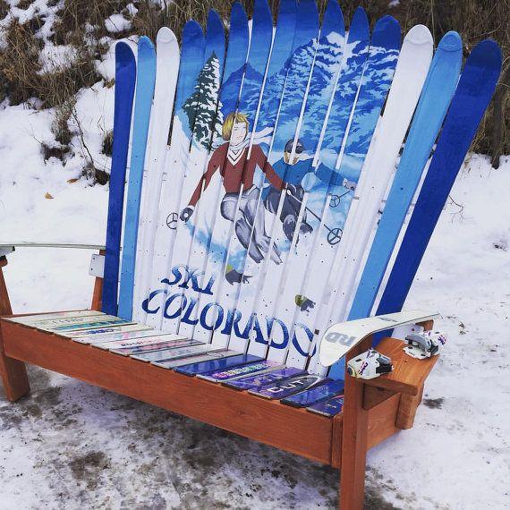 Vintage Ski Poster Bench  Ski Colorado