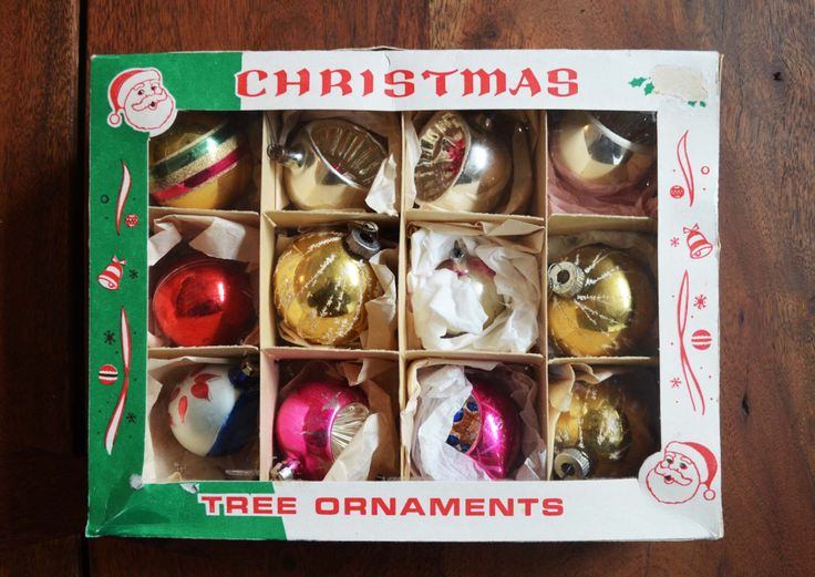 Vintage Christmas Ornaments, Set of 12 in box - Fantasia Polish made, Indent and glittered teardrop styles circa 1950s by Trashtiques on Etsy https://www.etsy.com/ca/listing/273284150/vintage-christmas-ornaments-set-of-12-in