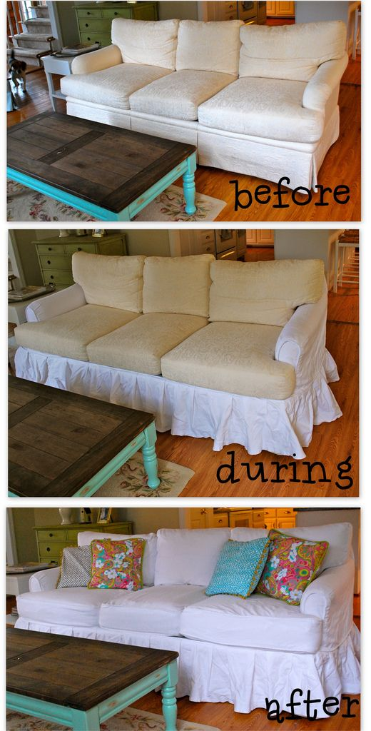 DIY Slipcovers - because we are grateful for our free hand-me-down couch, but it's still green. maybe someday....