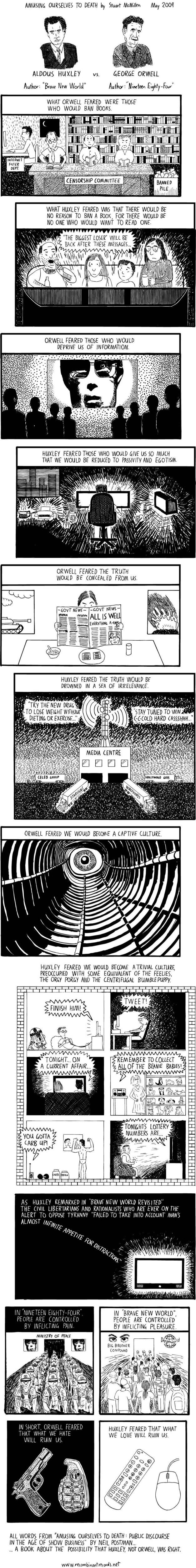 a literary comparison of a brave new world by aldous huxley and 1984 by george orwell Aldous huxley wrote brave new world in 1932  unlike in orwell's 1984, huxley's dystopia is one in which everyone  among them george orwell and steven.